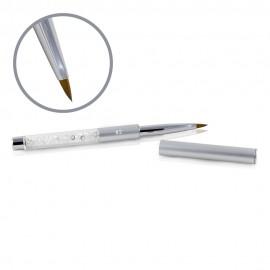 Pensulă Kolisnky Glamour Argintie - Vârf Plat Ascuțit - Nr. 2