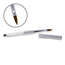 Pensulă Kolisnky Glamour Argintie - Vârf Plat Ascuțit - # 8