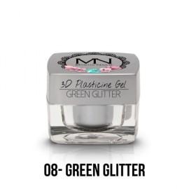 Geluri UV Colorate - Gel Plastilină 3D - 08 - Green Glitter - 3,5g